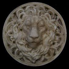Large Roman Facing Lion wall sculpture relief plaque in Antique Color Finish