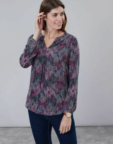 Joules AW19 Rosamund V Neck Woven Top in Navy Rain