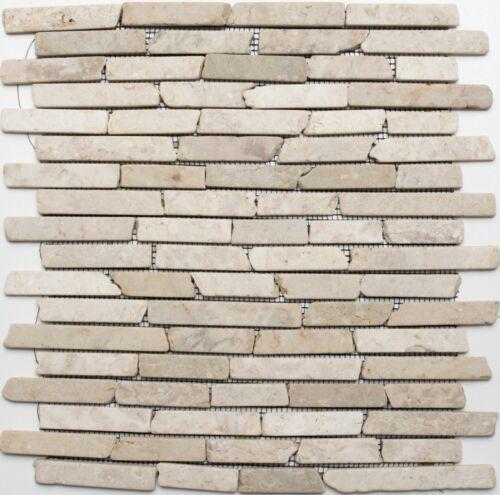 Mosaikstäbchen Naturstein hellbeige Biancone Fliesenspiegel Küchenwand 40-0105