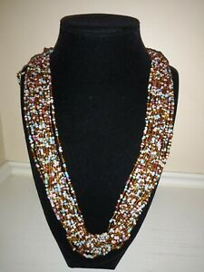 VTG Seed Glass Beads Multi Strand (20) Multi-Color Necklace 30""