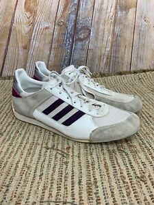 Details about Adidas Vintage Made In Germany 80's White Purple Trainer Sneakers Rare Size 12.5