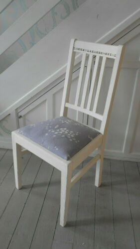 Shabby chic WOODEN CHAIR with upholstered seat and back detail in Old White