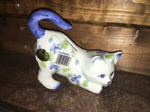 Andrea By Sadek Blaue Veilchen Spielen Kitten Cat China Spardose Geld Bank 14714 Neu Ebay