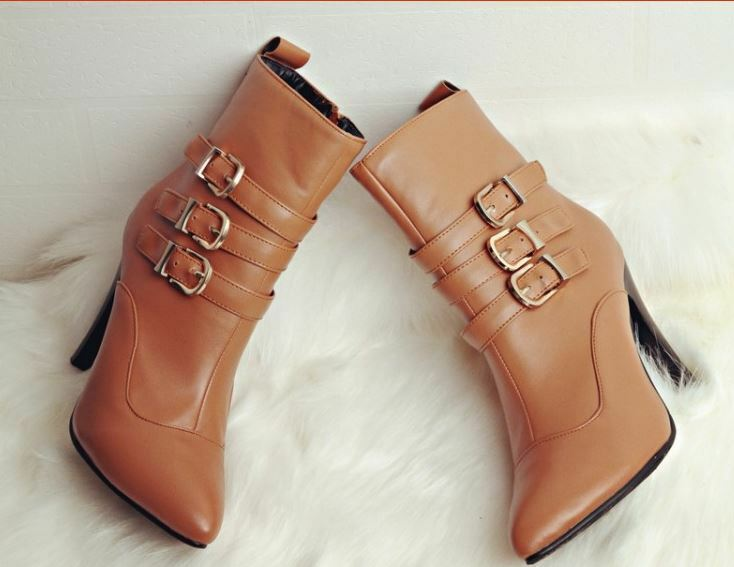 Bottes talons aiguilles chaussures pour femmes 9 cm beige confortable comme cuir