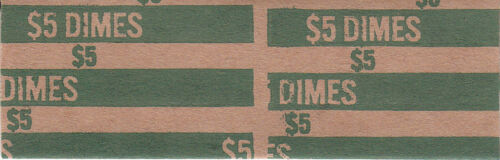 100 TEN CENT FLAT DIME COIN WRAPPERS THAT HOLD 50 DIMES EACH