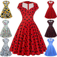 Ladies Retro Vintage Housewife 40s 50s Swing Pin Up Evening Cocktail Party Dress