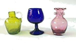 Vintage 1960's art glass.  Amethyst vase, cobalt blue brandy snifter, green