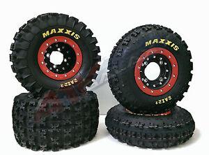 Hiper-CF1-Beadlock-Rims-Maxxis-Razr-2-Tires-Front-Rear-XC-Kit-Honda-TRX-250R-250