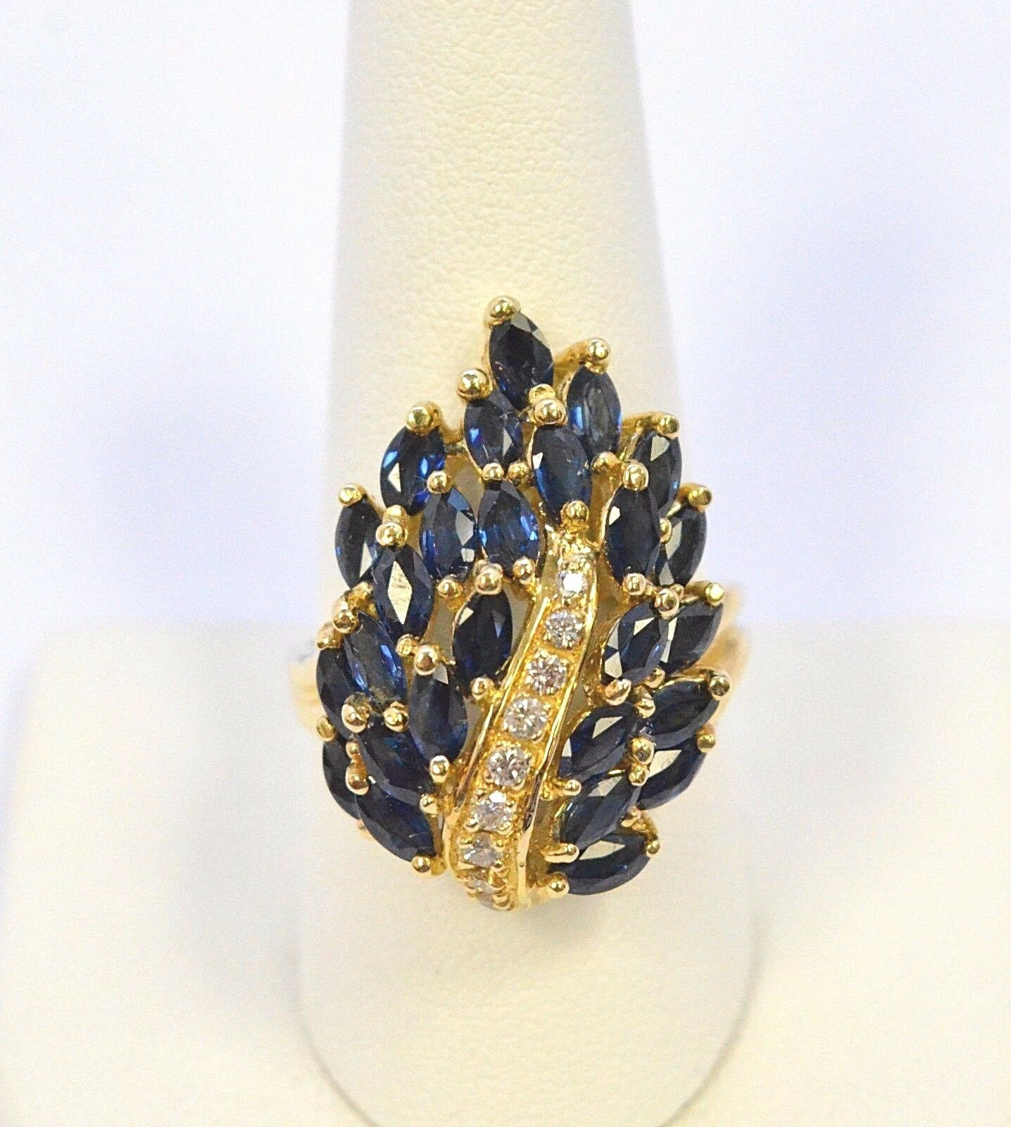 2633-10K YELLOW gold blueE SAPPHIRE & DIAMOND RING  11.50GRMS SZ 10