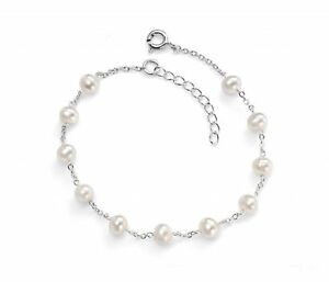 925-Sterling-Silver-039-Elements-Silver-039-White-Cultured-Freshwater-Pearl-Bracelet