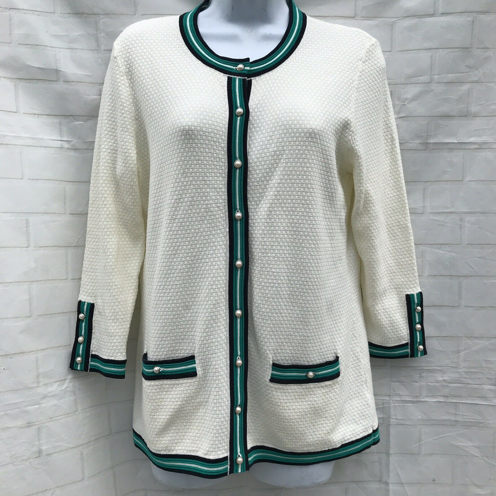 Talbots Cream Cardigan Sweater Pearl Buttons Teal Navy Trim Size Small NEW