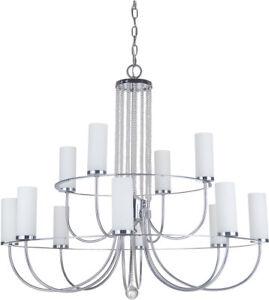 craftmade cascade 12 light 2 tier chandelier chrome finish glass and
