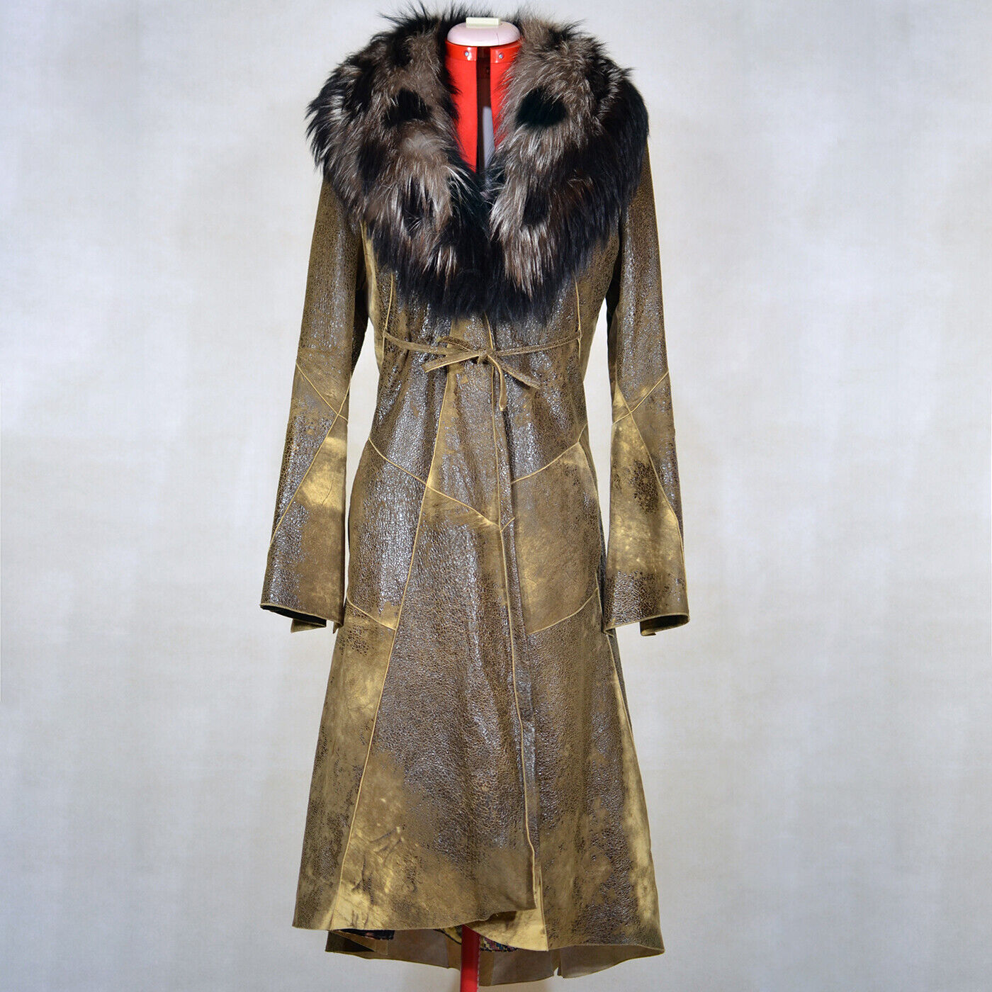 ROBERTO CAVALLI Womens Brown Leather Coat with Fox Collar Size M