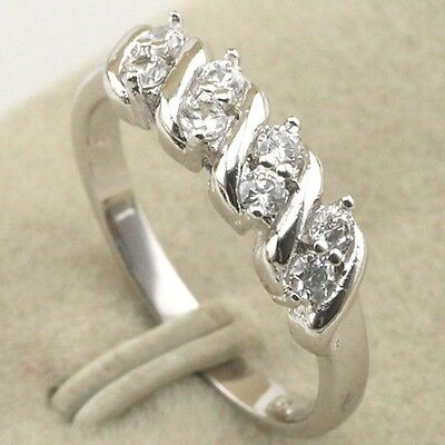 Size 5~10 Fancy Vogue Jewelry White CZ Gold Filled Ring Women's Gift rj1437