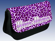 PURPLE LEOPARD PRINT PERSONALISED LADIES /GIRLS MAKE UP BAG / PENCIL CASE - GIFT