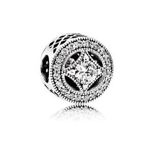 Authentic-Pandora-Sterling-Silver-Vintage-Allure-Clear-CZ-Bead-791970CZ