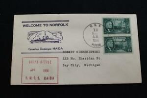 Navale-Cover-1956-Nave-Annullo-Postale-Welcome-Norfolk-Canadese-Distruttore
