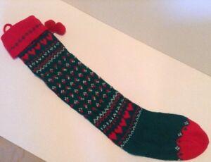 Vintage-24-034-Knit-Christmas-Stocking-Pom-Poms-amp-Hearts-Red-White-amp-Green
