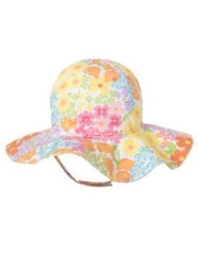 GYMBOREE BUTTERFLY BLOSSOMS WHITE FLORAL SUN HAT 0 12 24 2T 3T NWT