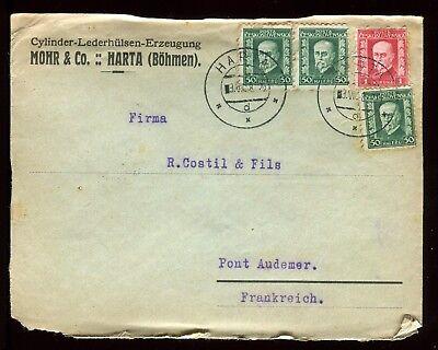 Tchécoslovaquie - Enveloppe Commerciale De Harta En 1928 Pour La France