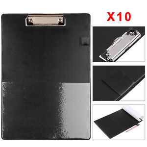 10X A4 Clip Board - BLACK Clipboards with Pen Holder & Foolscap Office Work