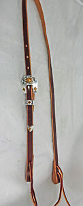 Brown-Harness-Leather-1-2-034-Bosal-Hackamore-Hanger-Silver-Plate-Southwest-Buckle
