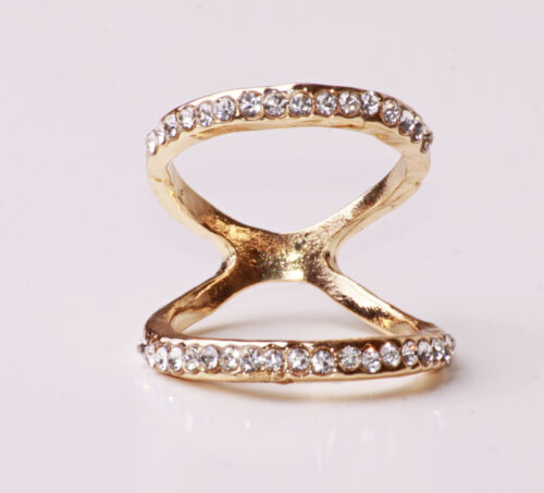 CLASSY FEMININE RHINESTONES ENCRUSTED SPARKLY DOUBLE RING GOLD TONE CL25