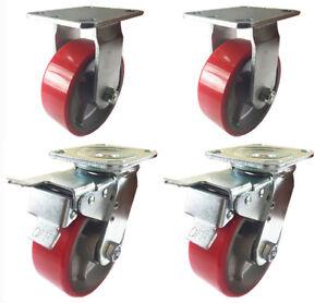 "6"" x 2""  Polyurethane on Cast Iron Red Non-marking Total Lock 2 Swivel & 2 Rigid"