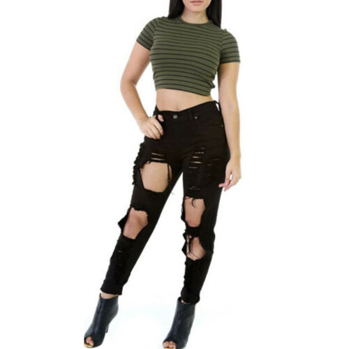 Women Skinny Ripped Holes Jeans Pants High Waist Stretch Denim Pencil Trousers
