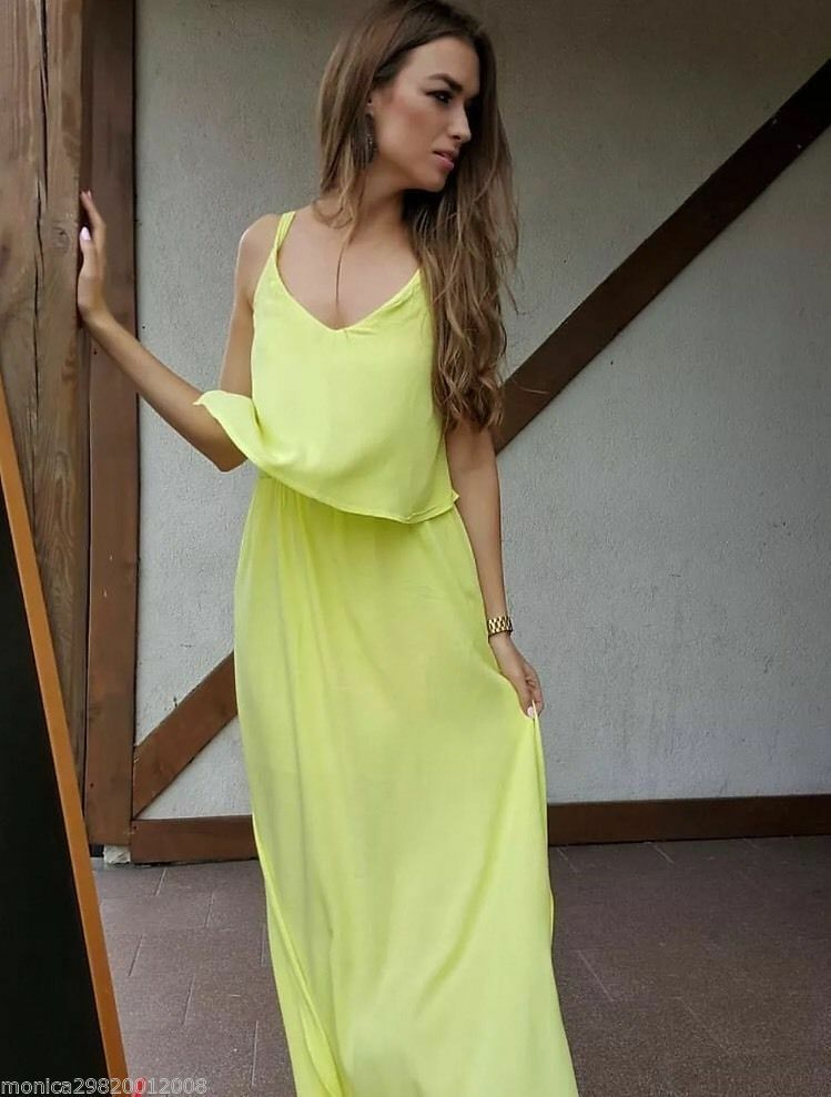 NWT ZARA LONG MAXI DOUBLE LAYErot DRESS Light Gelb STRAPY 5149 029_XS S