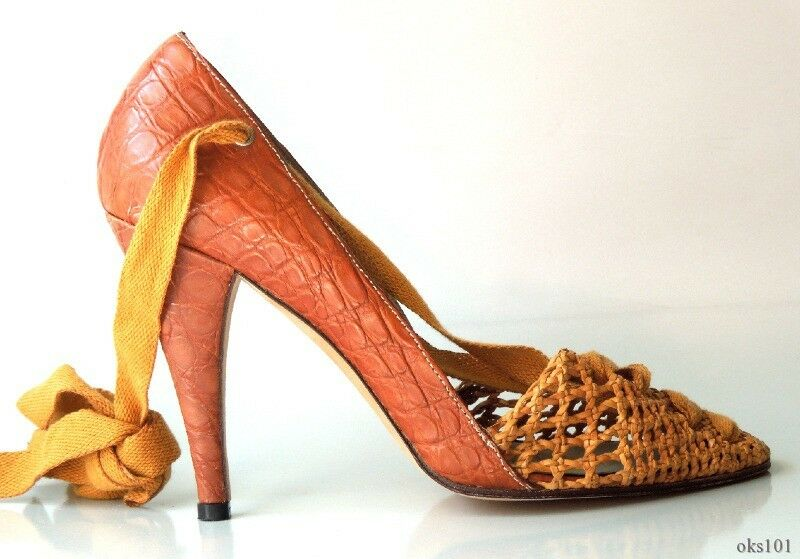 New  855 DIANA BROUSSARD tan brown woven front CROCO leather shoes 36.5 US 6.5