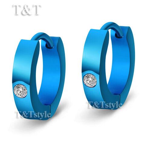 ELEGANT T/&T BLUE S.Steel NARROW Hoop Earrings With CZ