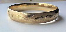 Solid 14K Yellow Gold Brushed Etched Hinge Bangle Bracelet  14.7 grams