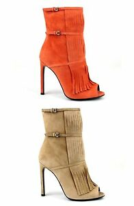 1f2ea381887 Image is loading New-Authentic-Gucci-Suede-Fringe-Becky-Gladiator-Peep-