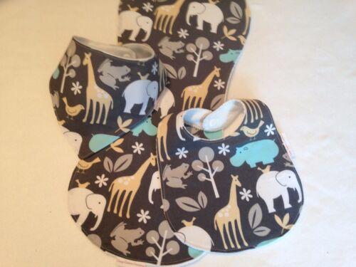 Baby Boy Bib//Burp Cloth Gift Set// Safari Animals//Baby Shower Gift