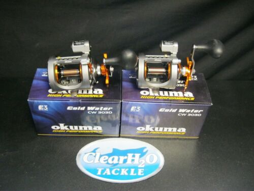 2 PACK OKUMA COLD WATER CW-303D LINE COUNTER LEVEL WIND STAR DRAG TROLLING REELS