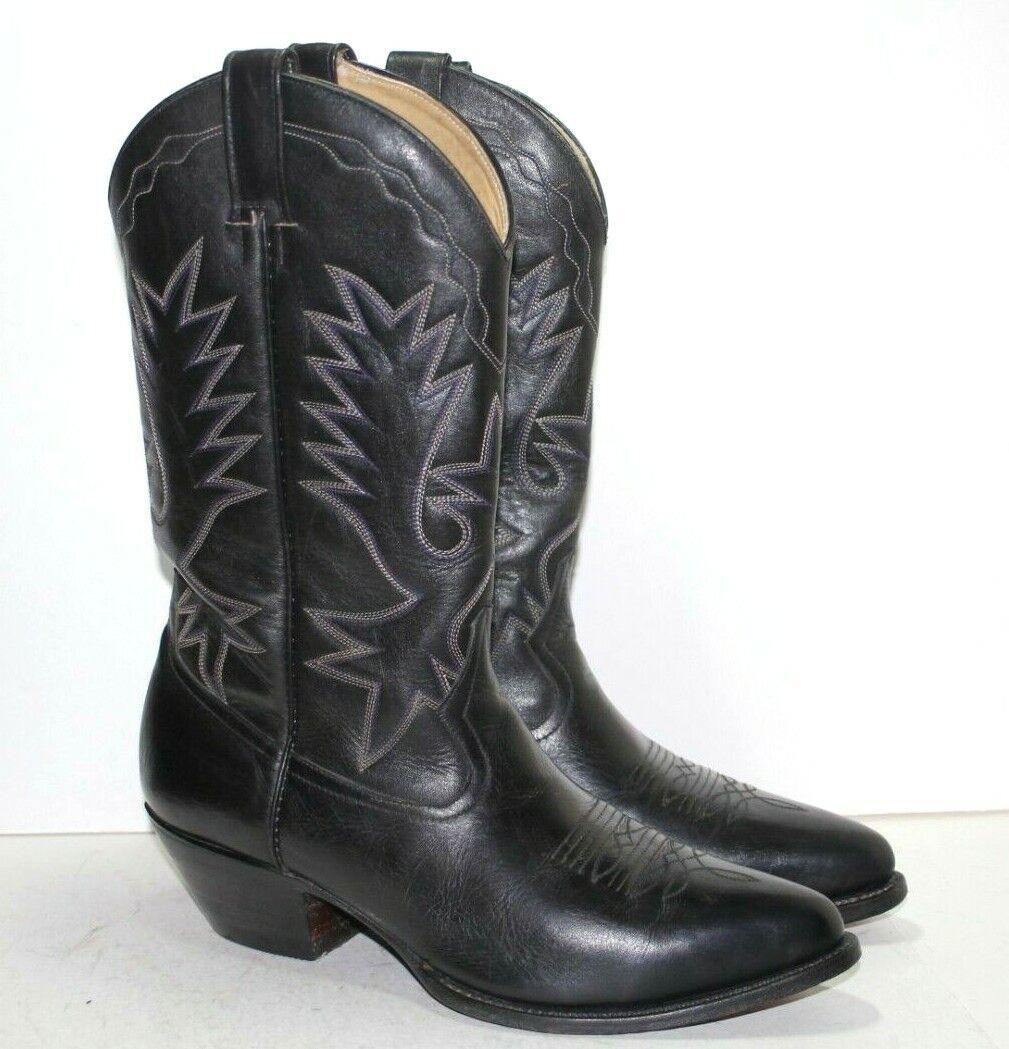 Men's GOLDEN FOX Cowboy Western Boots Black Leather Size 11 US; 29.5 MEX