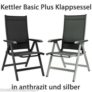 kettler basic plus klappsessel in silber oder anthrazit. Black Bedroom Furniture Sets. Home Design Ideas
