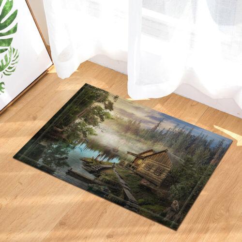 Wooden Cabin Lake Forest landscape Waterproof Fabric Shower Curtain /& 12 Hooks