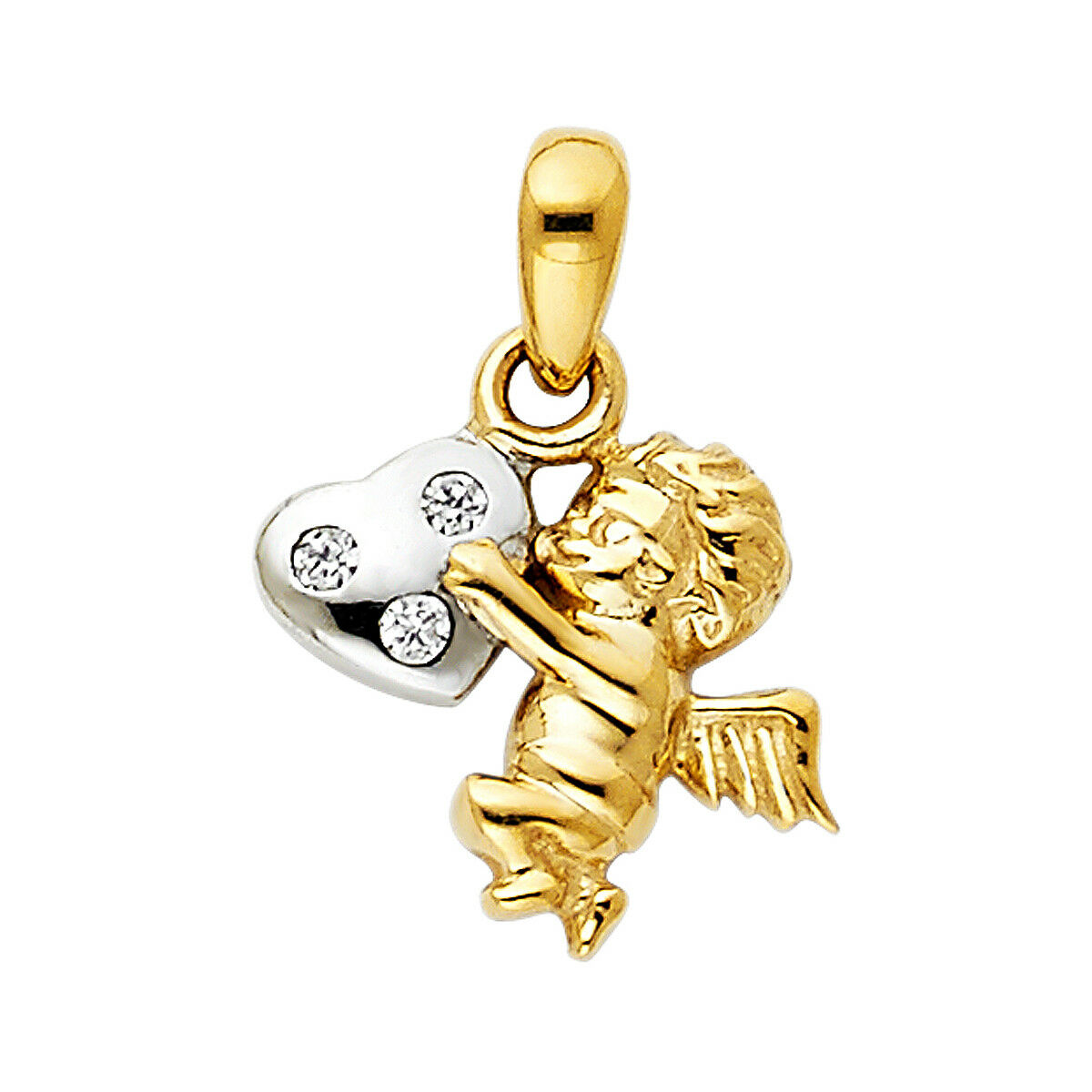 14K Two Tone gold CZ Angel Pendant For Women Two Tone gold CZ Angel Pendant