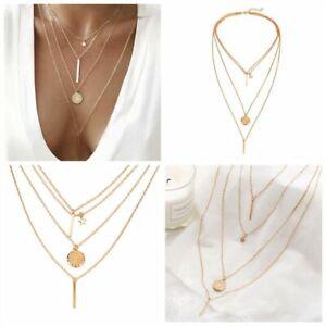 Women-039-s-Fashion-Boho-4Pcs-Set-Star-Round-Multi-layered-Chain-Choker-Necklace