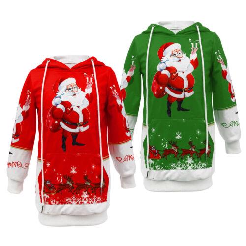 Girls Christmas Santa Elk Long Sleeve Jumper Top Pullover Hoodies Sweatshirt