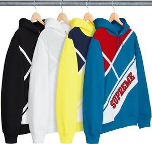 15d12cb9 Image is loading SUPREME-Diagonal-Hooded-Sweatshirt-Black-White-Dark-Aqua-