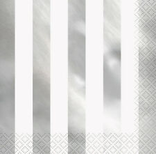 SILVER METALLIC Shiny STRIPES LUNCH NAPKINS (16) ~ Birthday Party Supplies Large