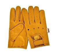 Men's Yellow Leather Dressing Driving Motorcycle Biker Gloves Rk-1011-yellow