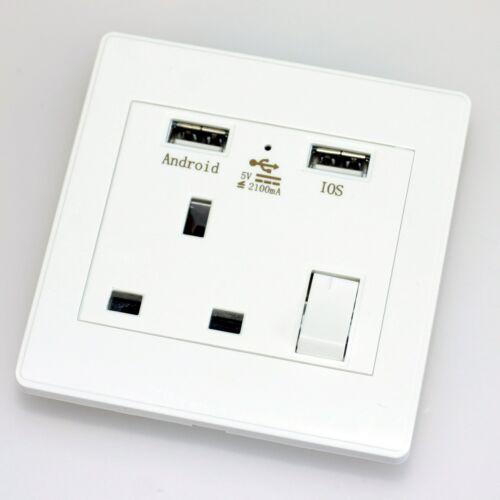 Wall Socket USB Charging Port Standard Socket White Single Double 3 Pin Plug UK