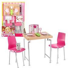Barbie - Möbel Einrichtung Esszimmer - Tisch & Stühle mit Zubehör