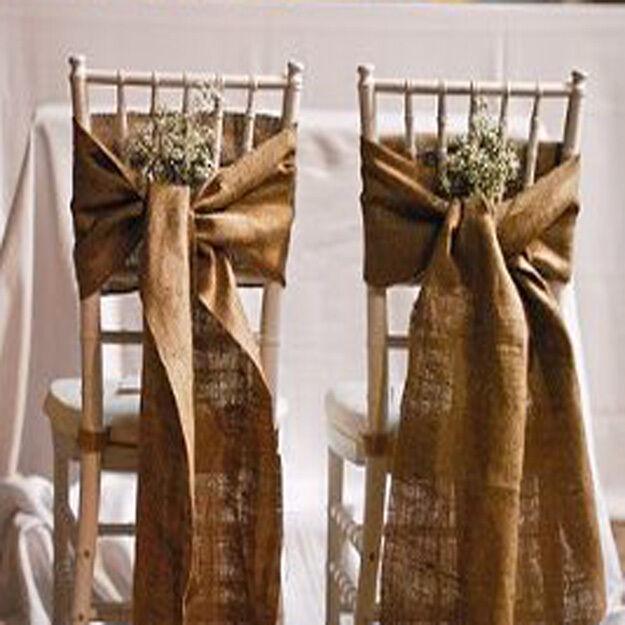 50 Burlap Chair Sashes 100% Natual Refined Jute Squarouge end Event Wedding Decor