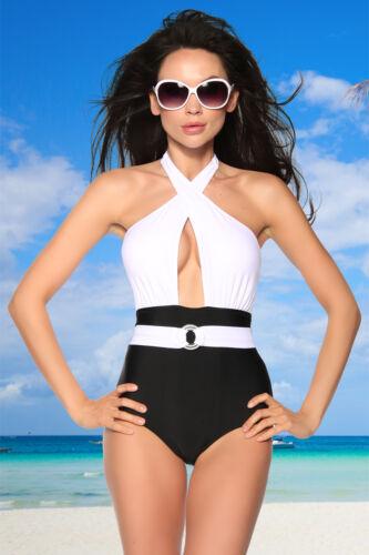 Vintage Monokini gepaddet Badeanzug swimwear Damen Bademode schwimmen baden