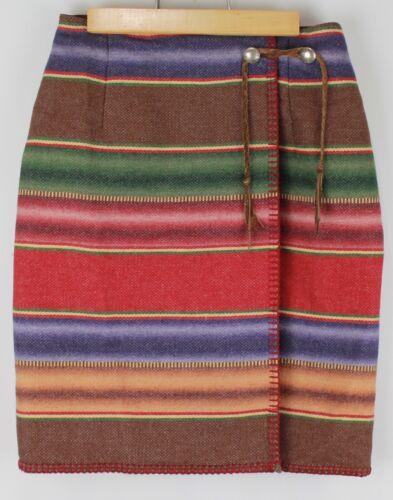Serape skirt Sarape skirt vintage retro wrap split front woven cotton stripes medium
